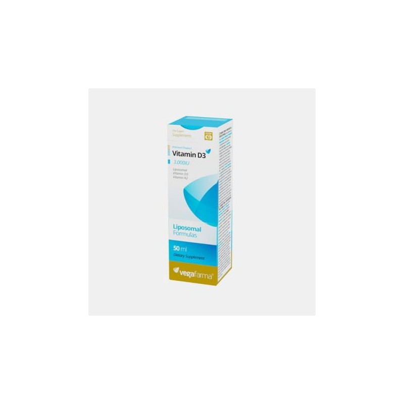 Vitamina D3 3000 IU + K2 100 Lipossomal 50 ml - Vegafarma