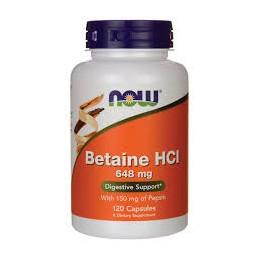 Betaine HCl 648mg 120 cápsulas